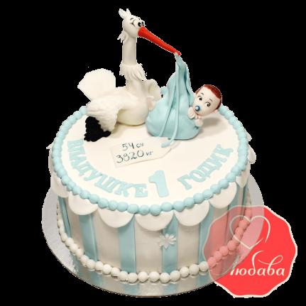 Торт на 1 годик с аистом №1238