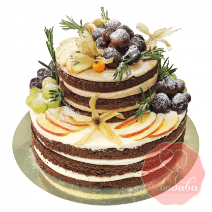 Торт с ягодами двухъярусный №1281