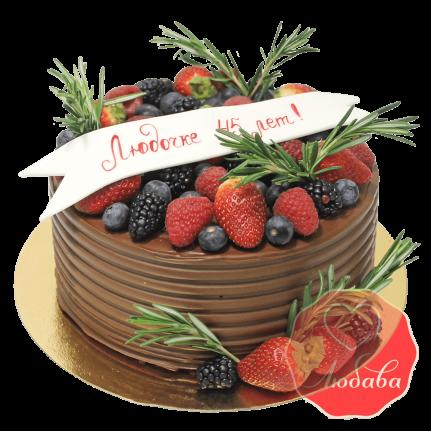 Торт с ягодами шоколадный на юбилей №1282