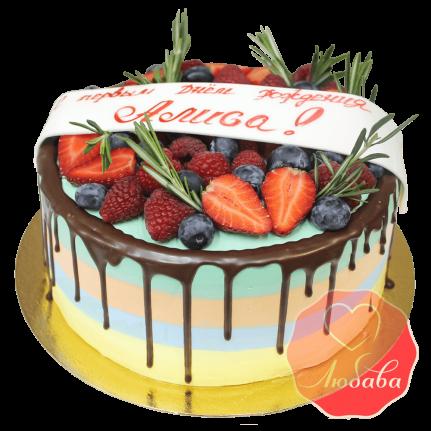 Торт с ягодами яркий на день рождения №1286