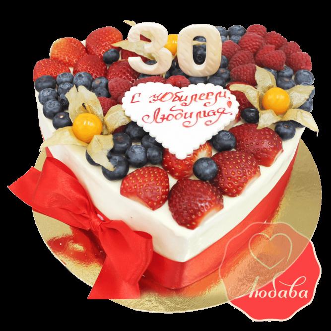 Торт с ягодами сердце на юбилей №1288