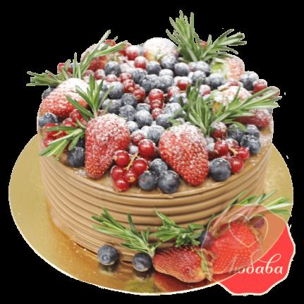 Торт с ягодами шоколадный №1294