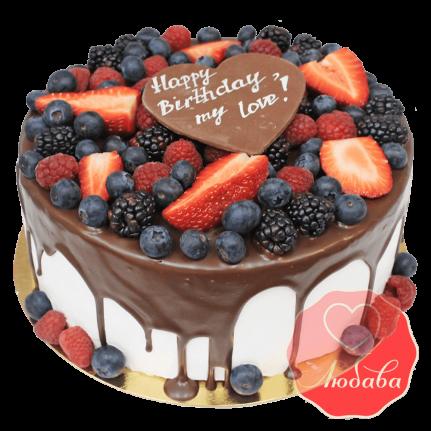Торт с ягодами на день рождения любимой №1296
