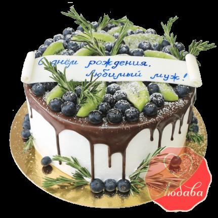 Торт с ягодами на день рождения мужу №1297