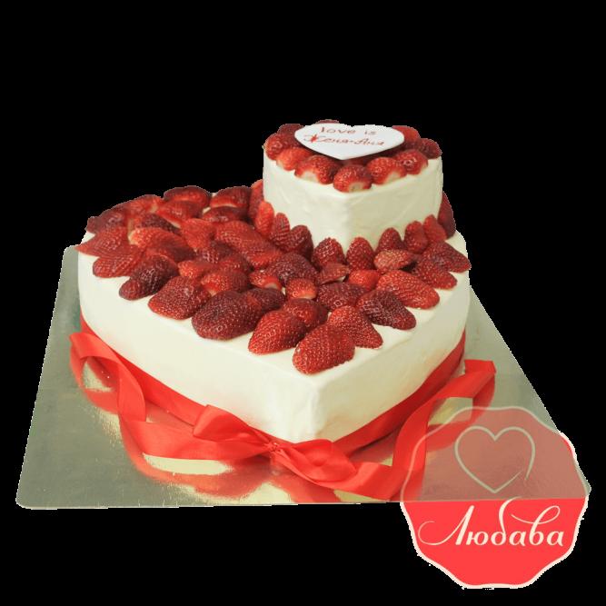 Торт с ягодами для пары №1298
