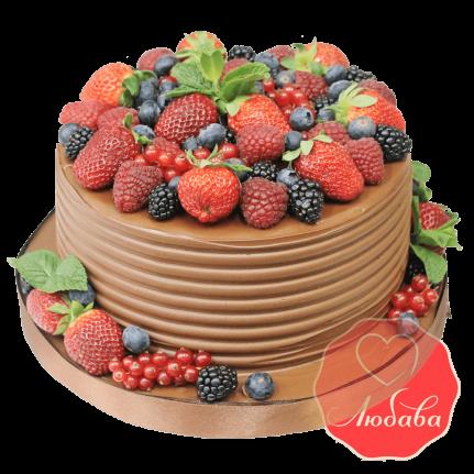 Торт с ягодами шоколадный №1299