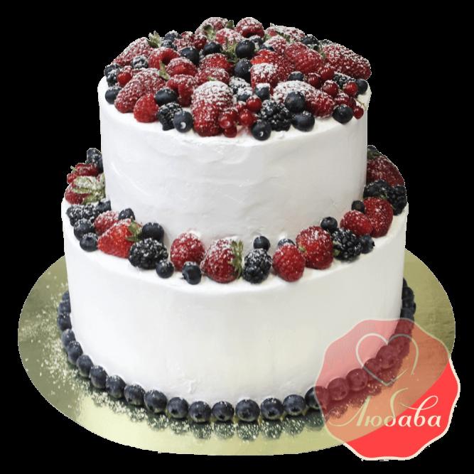 Торт с ягодами двухъярусный №1301