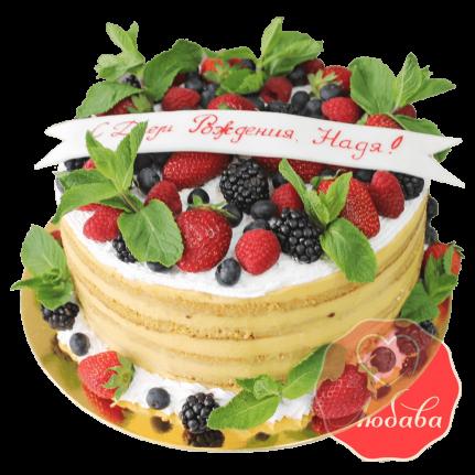 Торт с ягодами с мятой №1303
