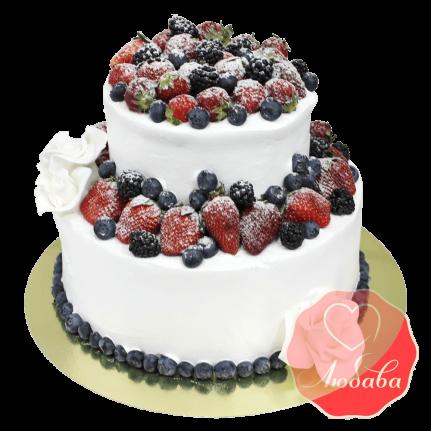 Торт с ягодами двухъярусный №1306