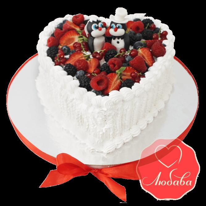 Свадебный Торт с ягодами и пингвинами №1308