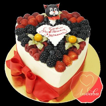 Торт с ягодами с котом №1313