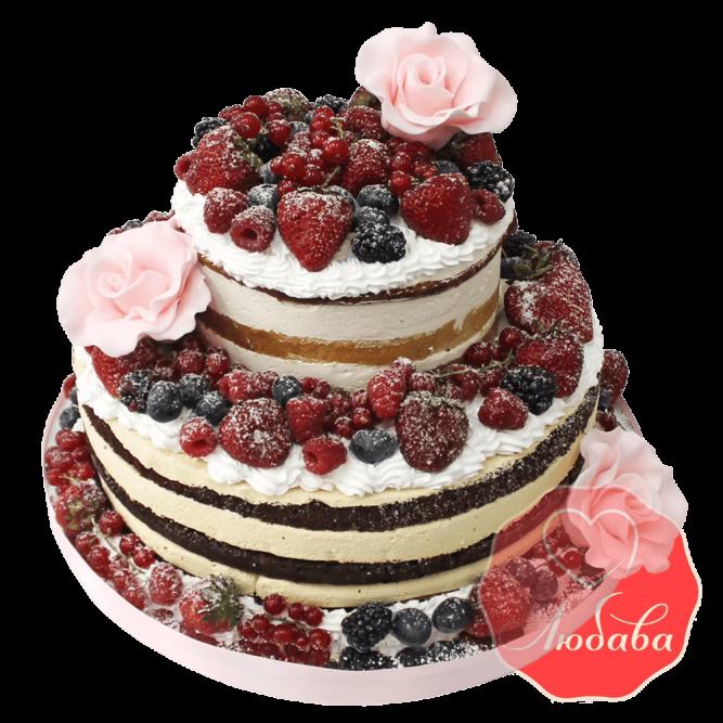 Свадебный Торт с ягодами двухъярусный №1314