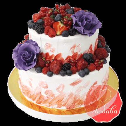 Торт с ягодами двухъярусный с розами №1316