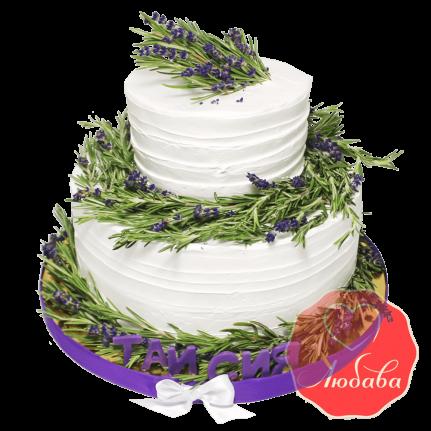 Торт с ягодами двухъярусный с цветами №1318