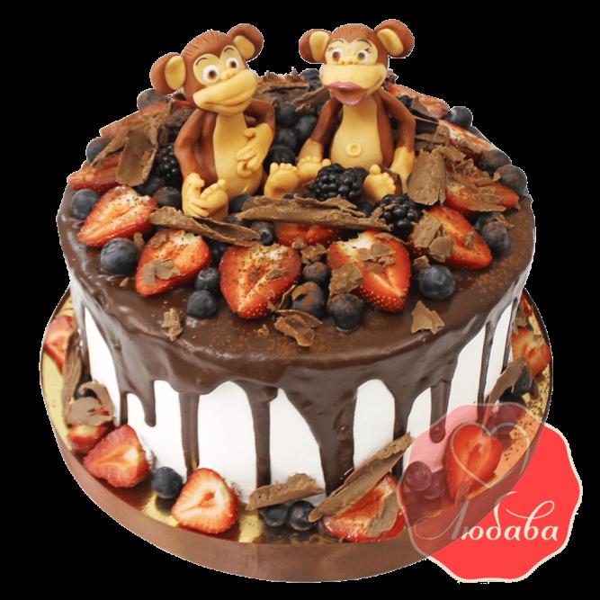 Торт с ягодами обезьянки №1319