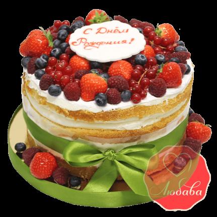 Торт с ягодами на день рождения №1321