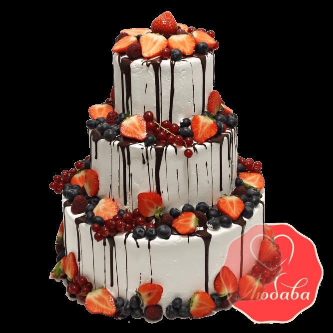 Свадебный Торт с ягодами трехъярусный №1322