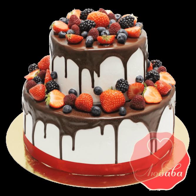 Торт с ягодами двухъярусный №1323
