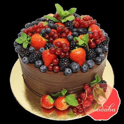 Торт с ягодами с шоколадом №1324