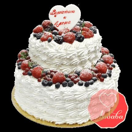 Свадебный Торт с ягодами двухъярусный №1325