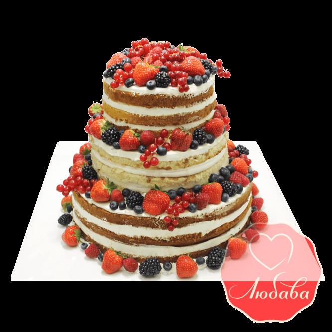 Торт с ягодами трехъярусный №1328