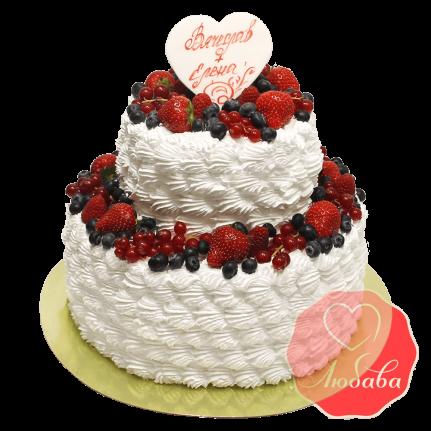 Свадебный Торт с ягодами двухъярусный №1332