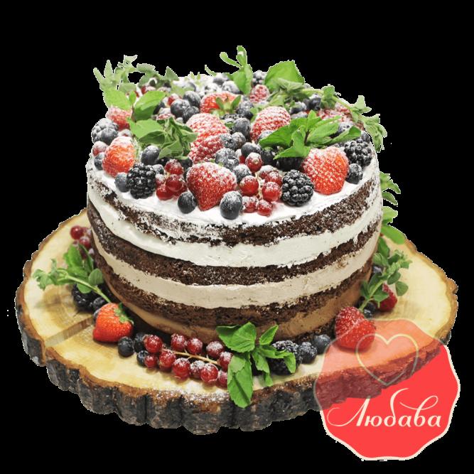 Торт с ягодами с мятой №1333