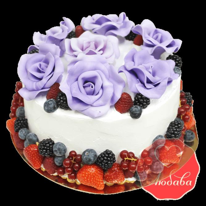 Торт с ягодами с розами №1334