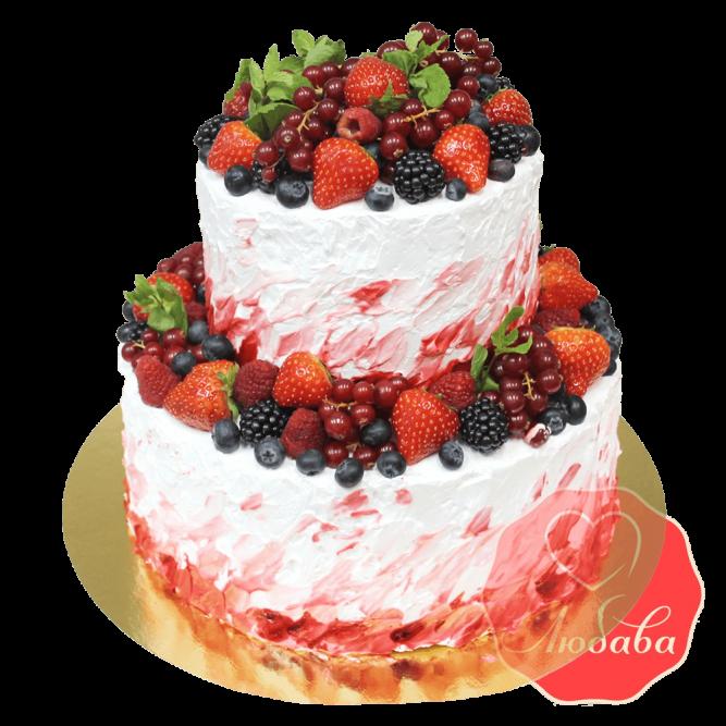 Торт с ягодами двухъярусный №1336
