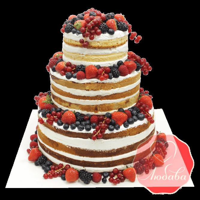 Торт с ягодами трехъярусный №1341