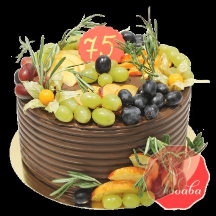 Торт с ягодами шоколадный на юбилей №1344