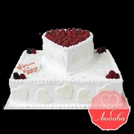 Свадебный Торт с ягодами двухъярусный №1345