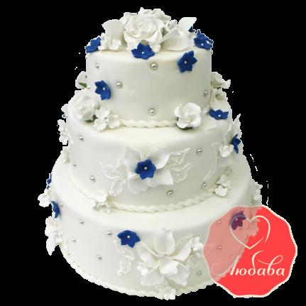 Свадебный Торт белый с цветами №1347
