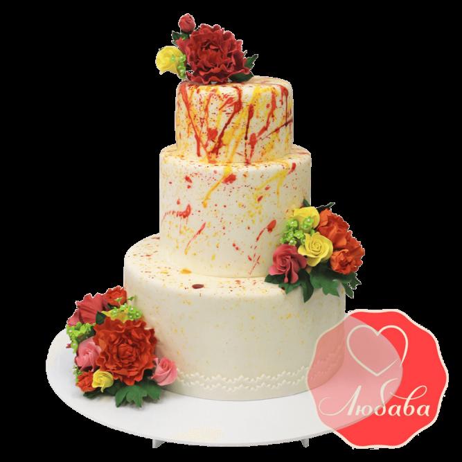 Свадебный Торт с розами №1348