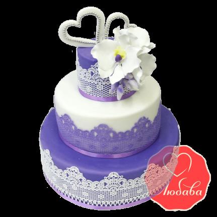 Свадебный Торт с кружевами №1350