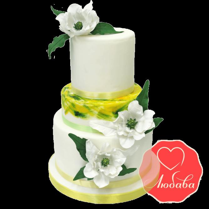 Свадебный Торт белый с цветами №1351