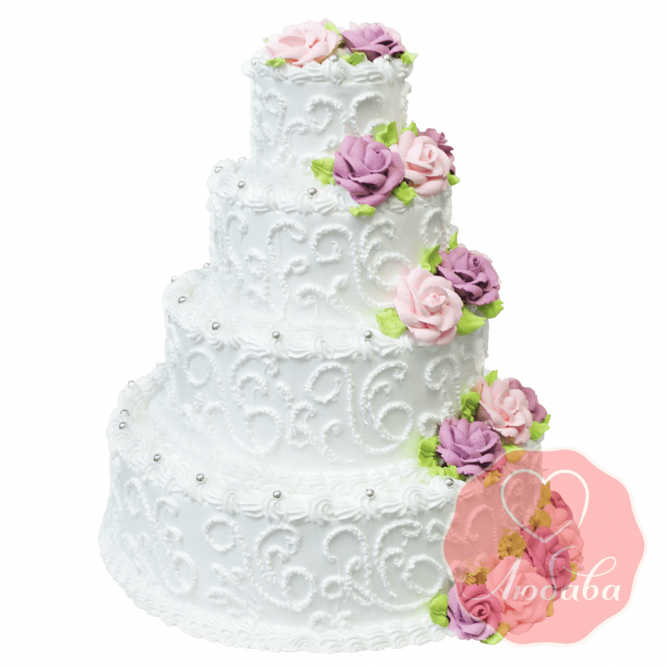 Свадебный Торт кремовые розы №1352
