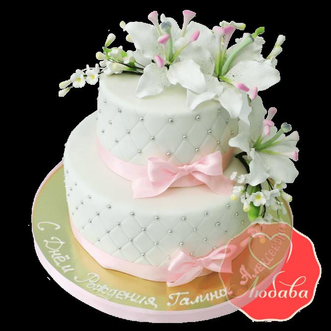 Свадебный Торт с лилиями №1358