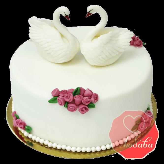 Свадебный Торт с лебедями №1362