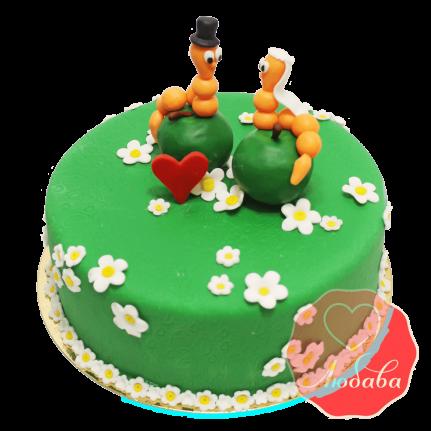 Свадебный Торт с гусеницами №1365