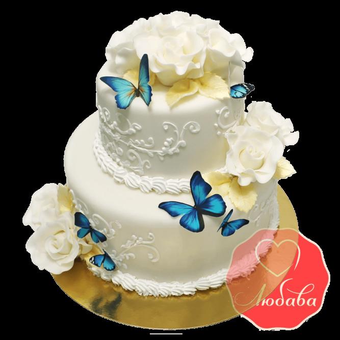 Свадебный Торт с бабочками №1366