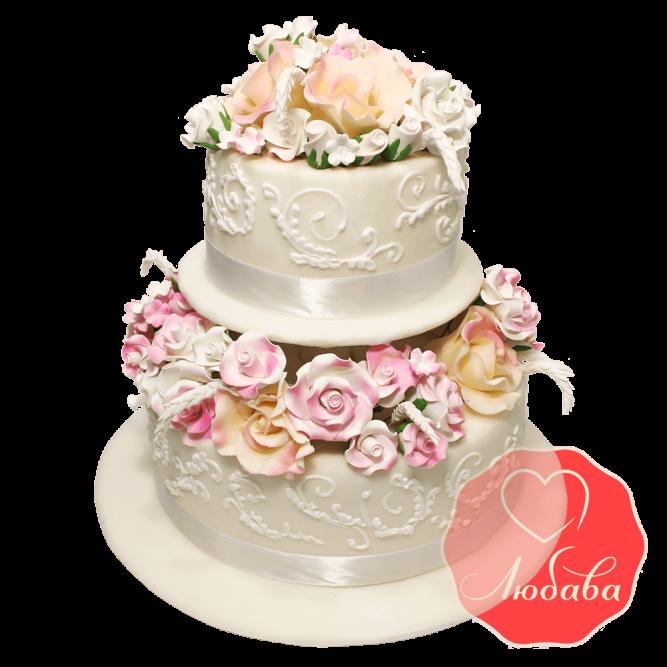 Свадебный Торт с цветами №1367