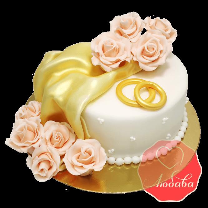 Свадебный Торт с розами №1370