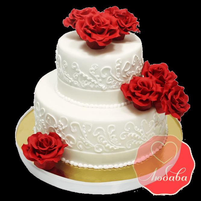 Свадебный Торт с розами №1371