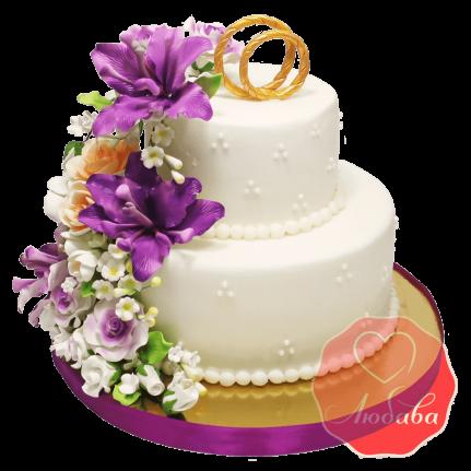 Свадебный Торт с цветами №1372