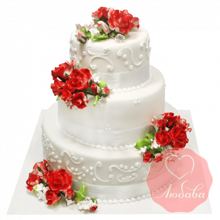 Свадебный Торт с цветами №1374