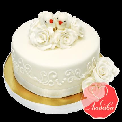 Свадебный Торт с голубями №1375