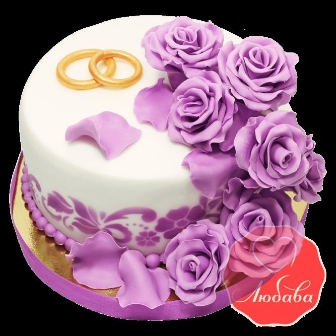 Свадебный Торт с розами №1376