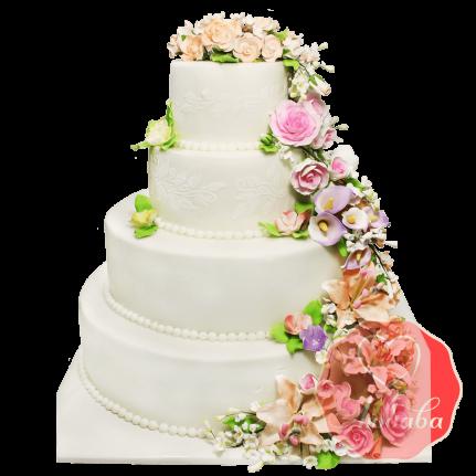 Свадебный Торт с цветами №1382