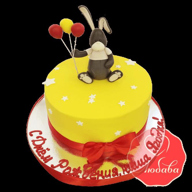 Торт детский велюровый с зайкой №1395